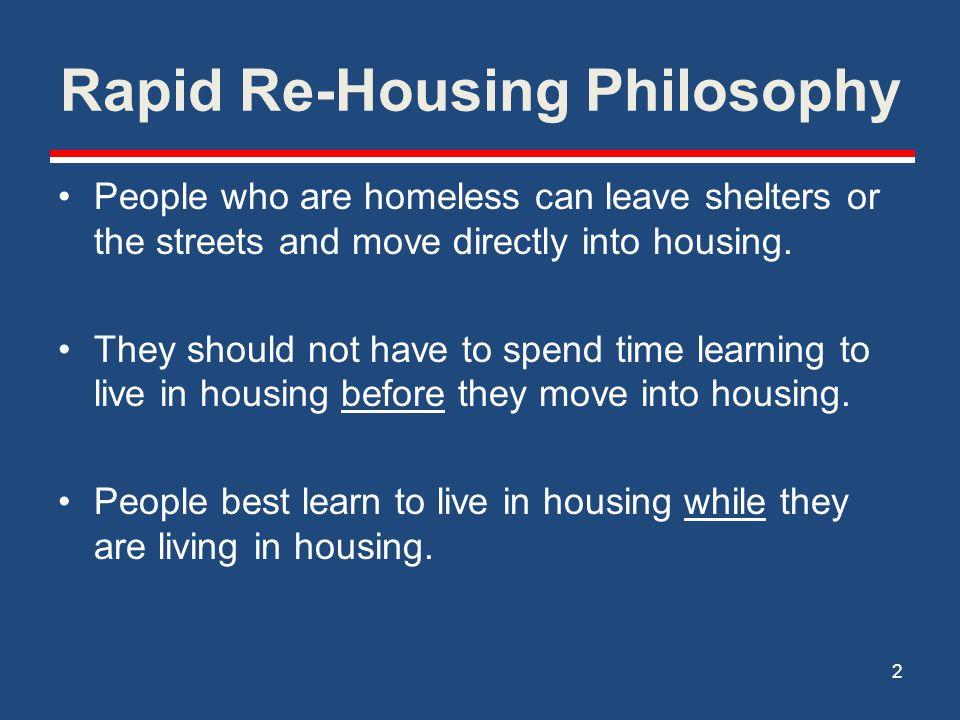 Rapid Re-Housing Philosophy