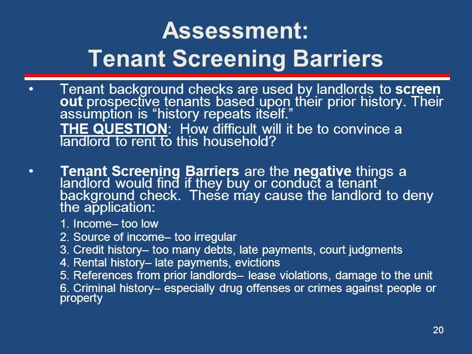 Assessment: Tenant Screening Barriers