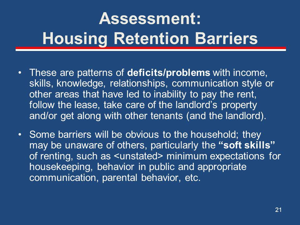 Assessment: Housing Retention Barriers