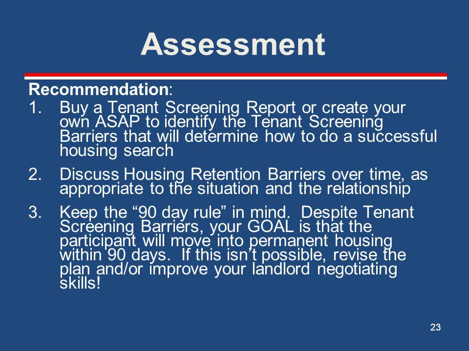 Assessment Recommendation: