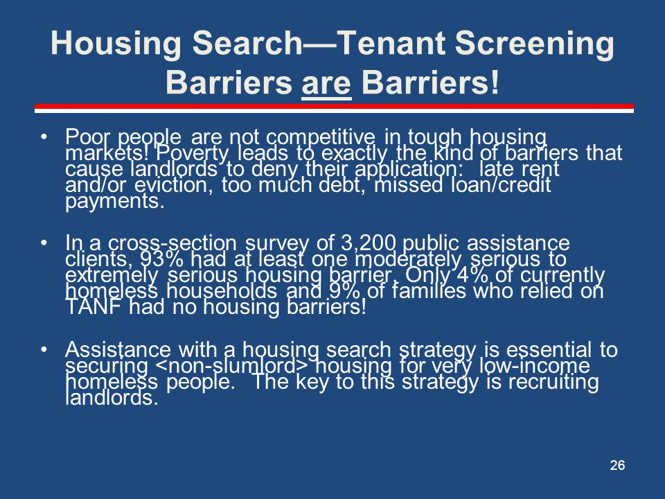Housing Search—Tenant Screening Barriers are Barriers!