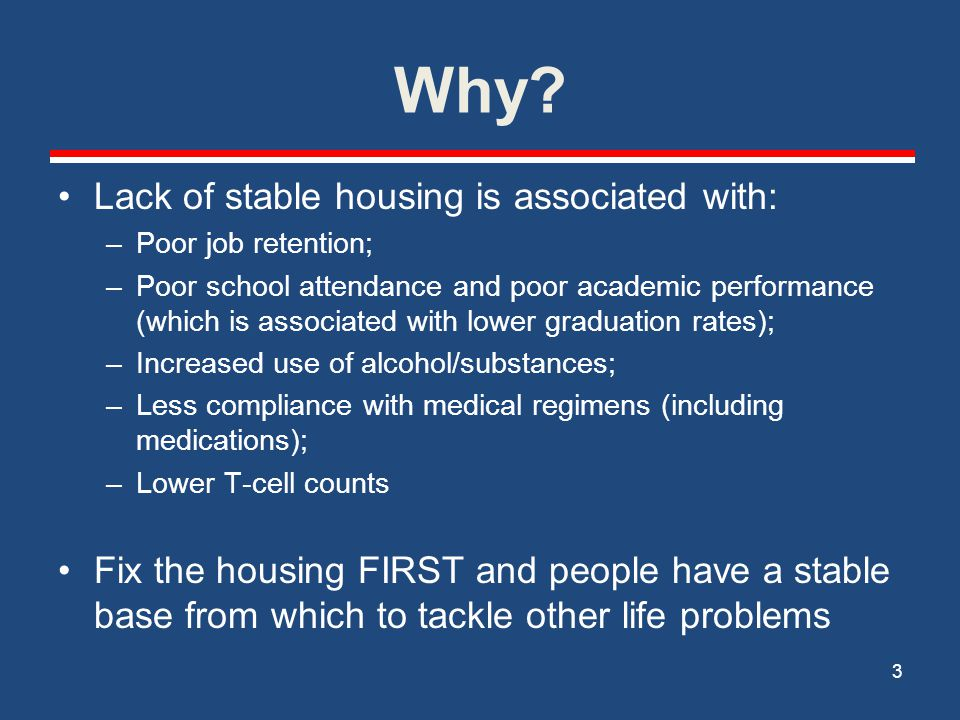 Why Lack of stable housing is associated with: