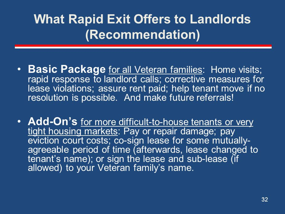 What Rapid Exit Offers to Landlords (Recommendation)