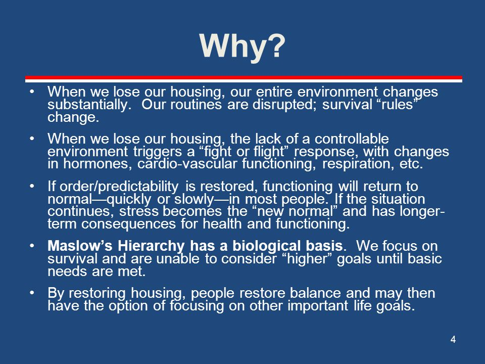 Why When we lose our housing, our entire environment changes substantially. Our routines are disrupted; survival rules change.