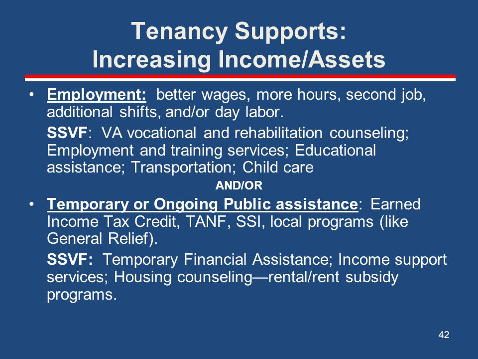 Tenancy Supports: Increasing Income/Assets