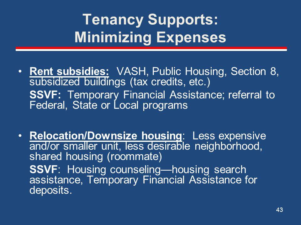 Tenancy Supports: Minimizing Expenses