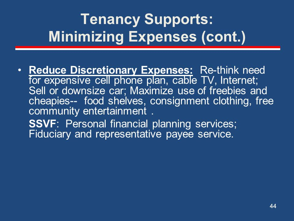 Tenancy Supports: Minimizing Expenses (cont.)