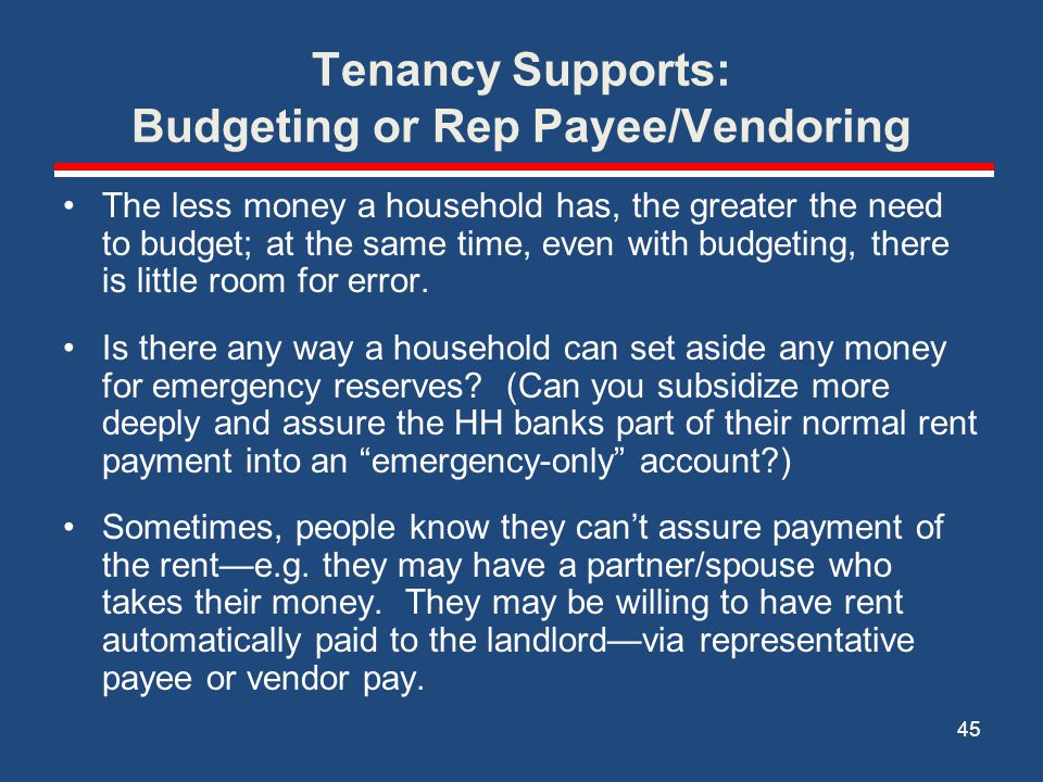 Tenancy Supports: Budgeting or Rep Payee/Vendoring