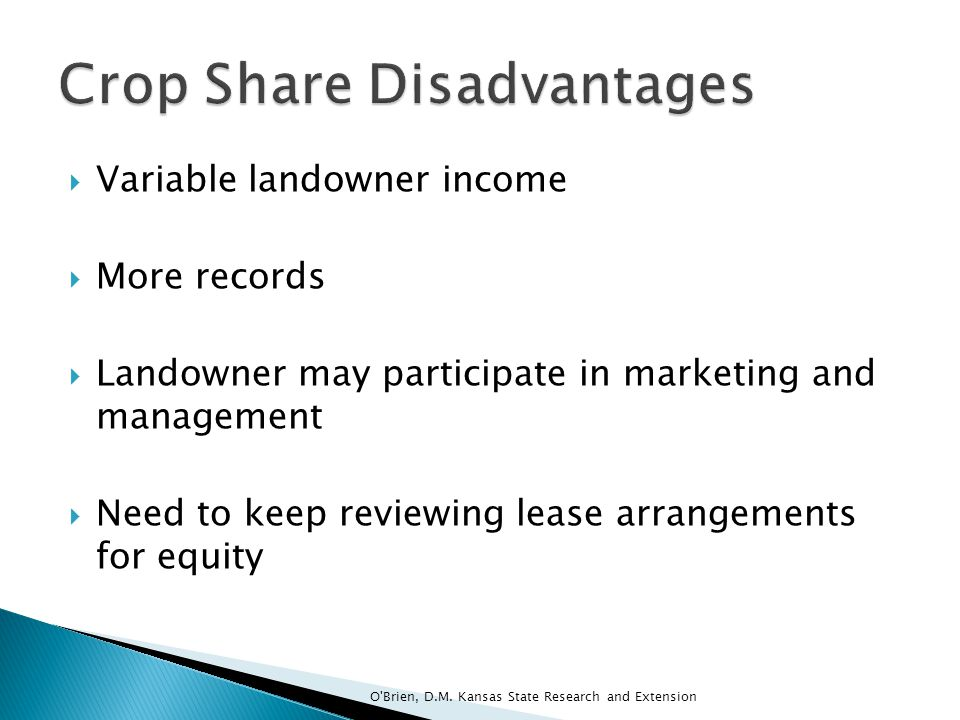 Crop Share Disadvantages