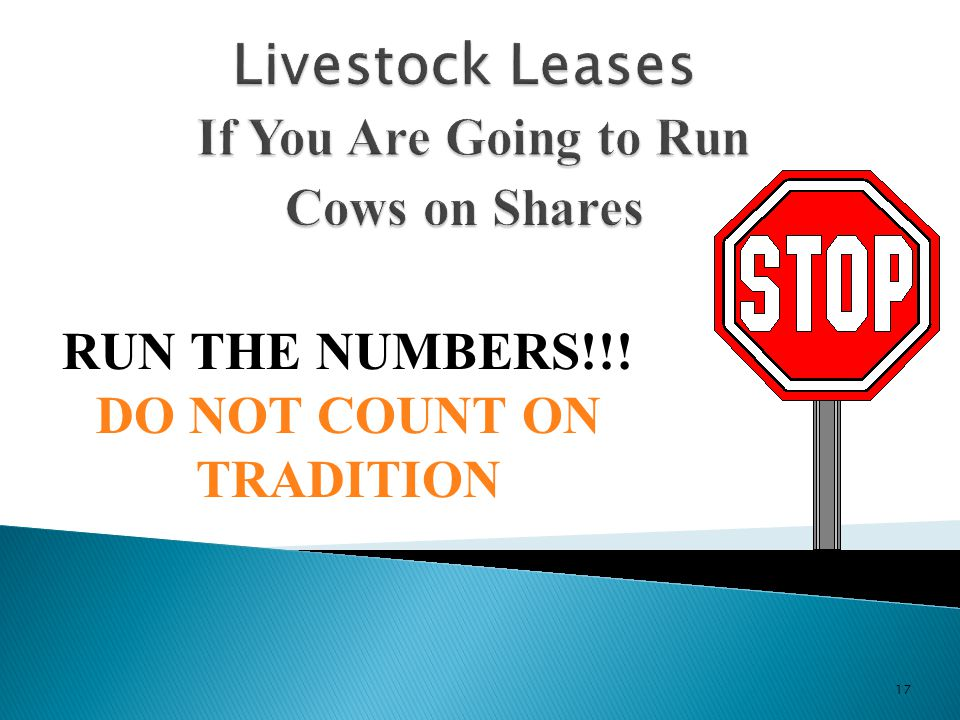 Livestock Leases If You Are Going to Run Cows on Shares