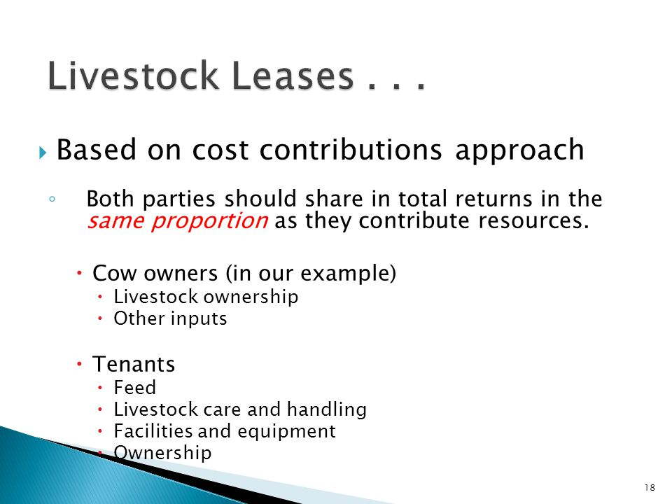 Livestock Leases . . . Based on cost contributions approach