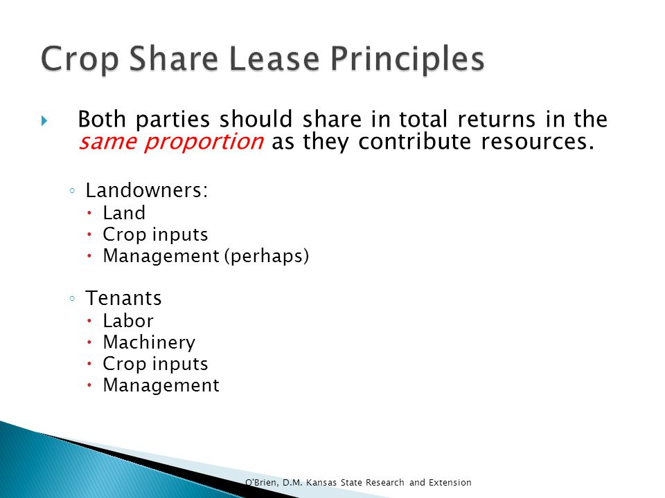 Crop Share Lease Principles