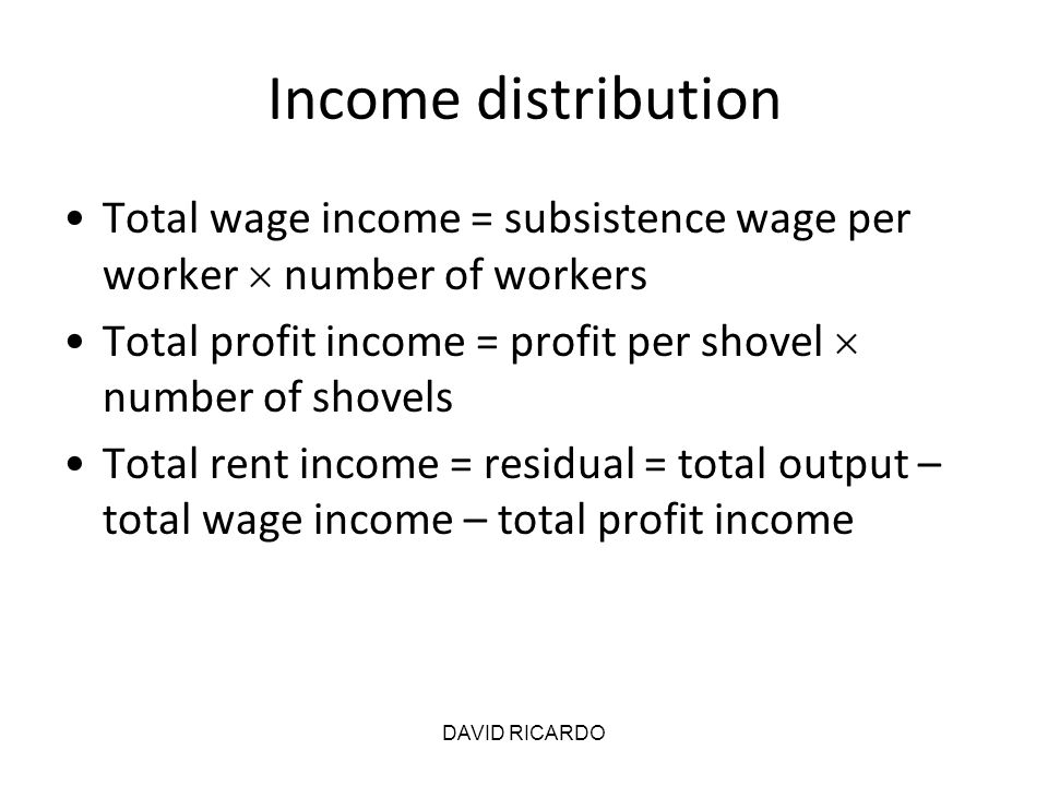 Income distribution Total wage income = subsistence wage per worker  number of workers. Total profit income = profit per shovel  number of shovels.