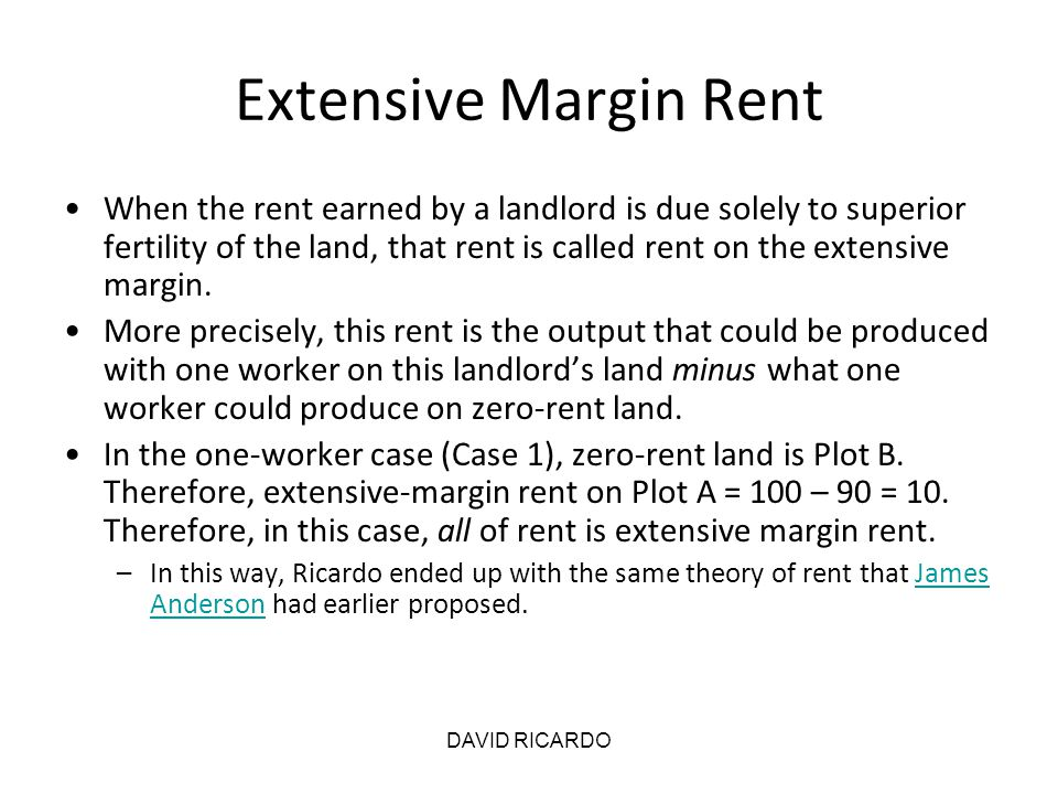 Extensive Margin Rent