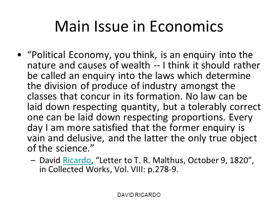 Main Issue in Economics