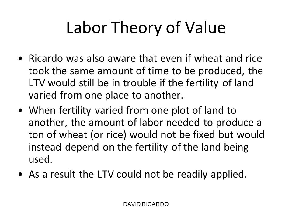 Labor Theory of Value