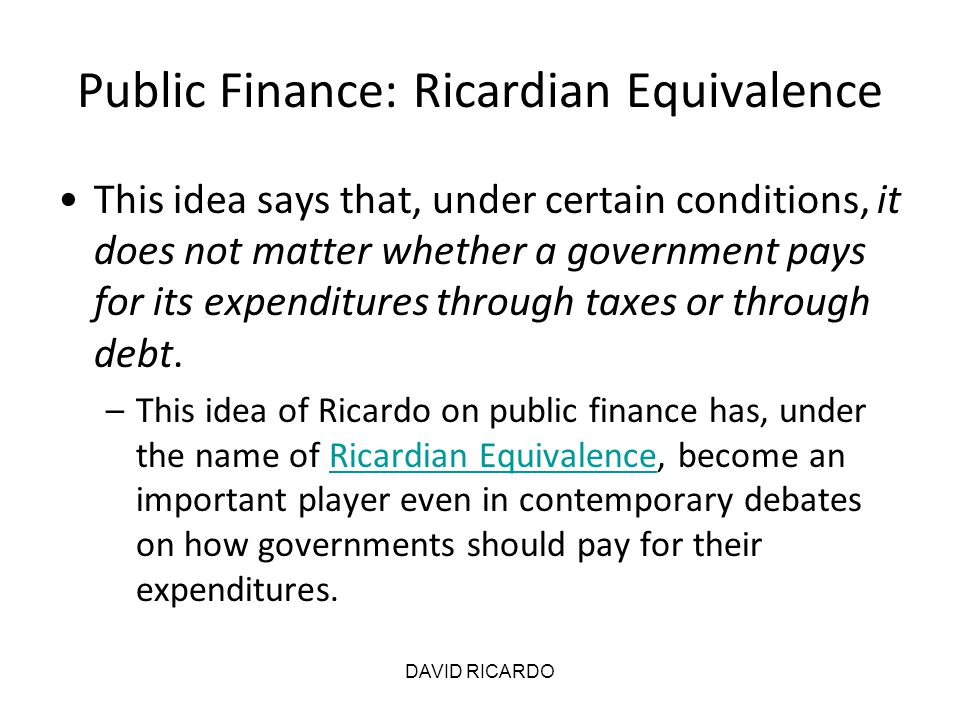 Public Finance: Ricardian Equivalence