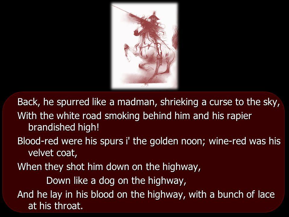 Back, he spurred like a madman, shrieking a curse to the sky,