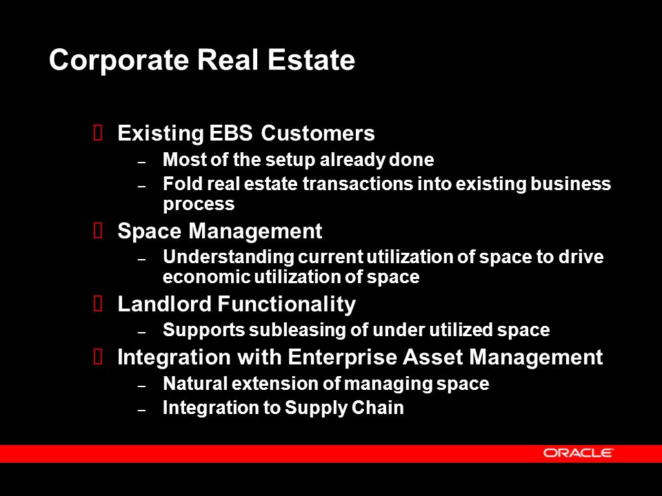 Corporate Real Estate Existing EBS Customers Space Management