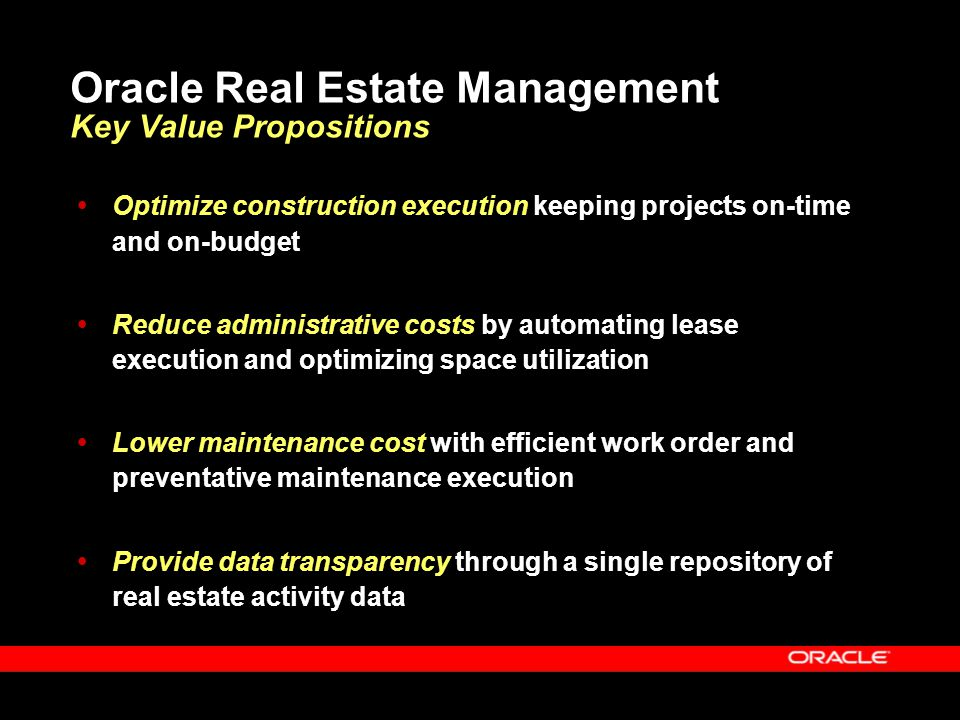 Oracle Real Estate Management Key Value Propositions
