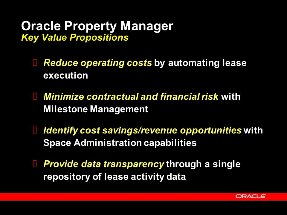 Oracle Property Manager Key Value Propositions