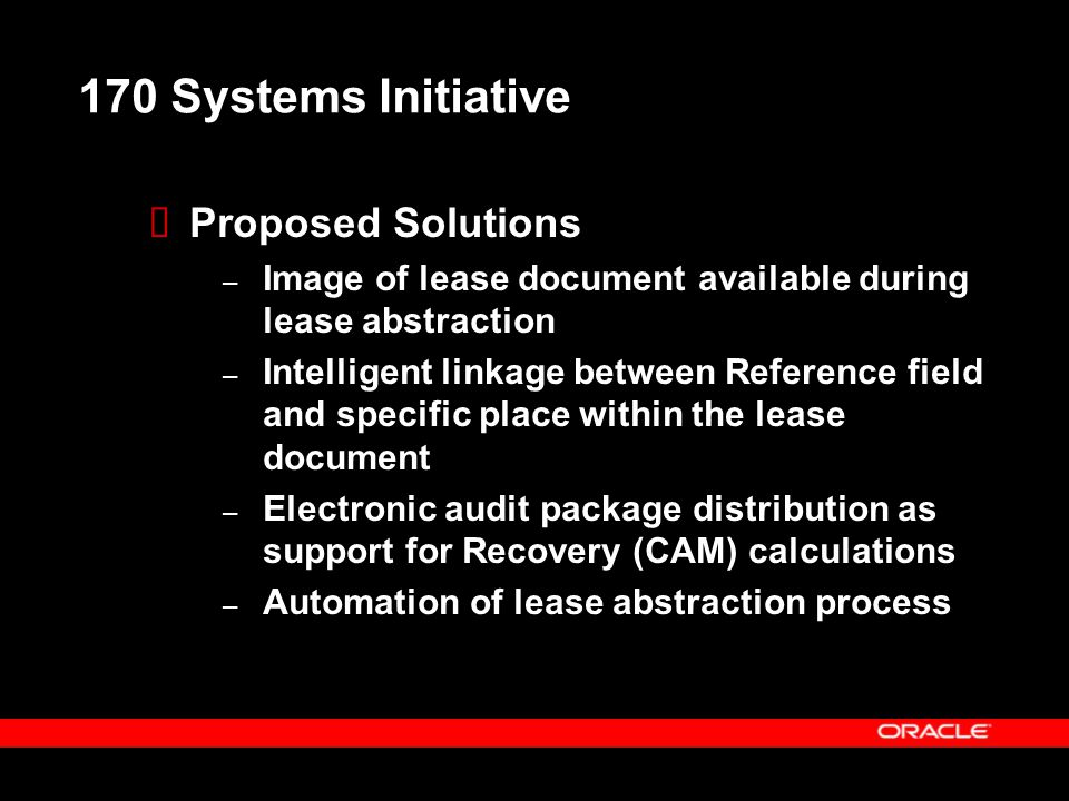 170 Systems Initiative Proposed Solutions