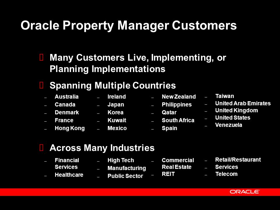 Oracle Property Manager Customers