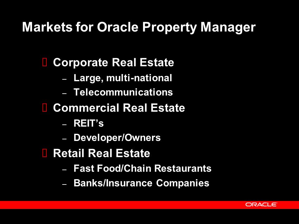 Markets for Oracle Property Manager