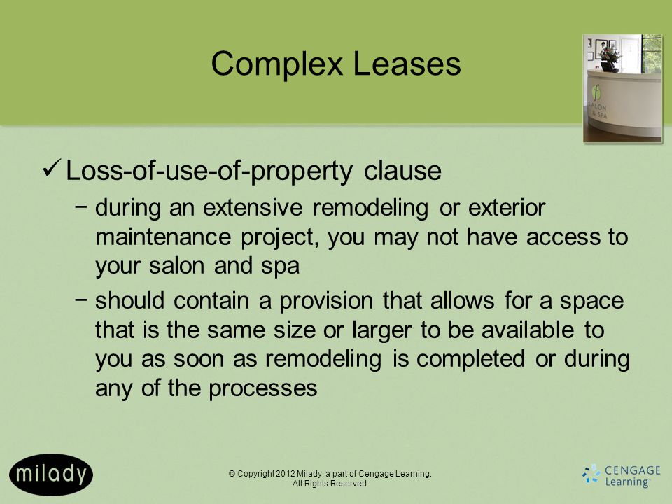 Complex Leases Loss-of-use-of-property clause