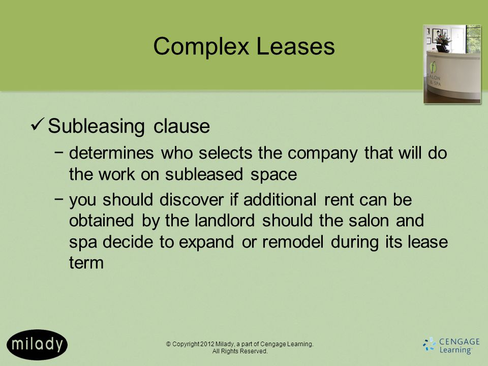 Complex Leases Subleasing clause