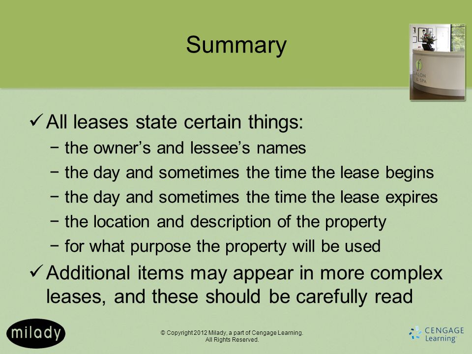 Summary All leases state certain things: