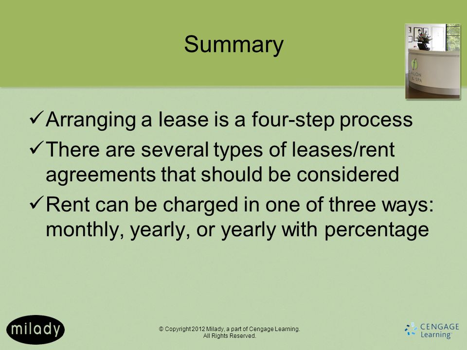 Summary Arranging a lease is a four-step process