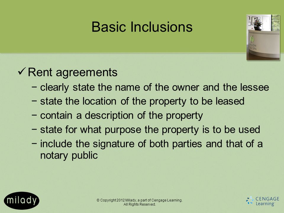 Basic Inclusions Rent agreements