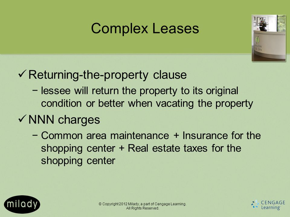 Complex Leases Returning-the-property clause NNN charges