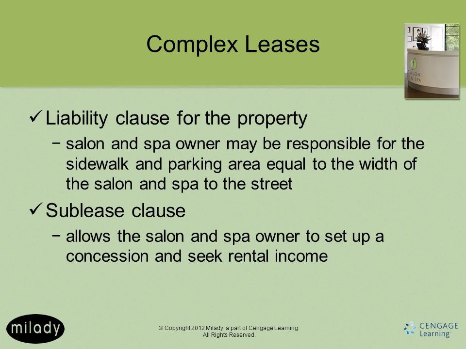 Complex Leases Liability clause for the property Sublease clause