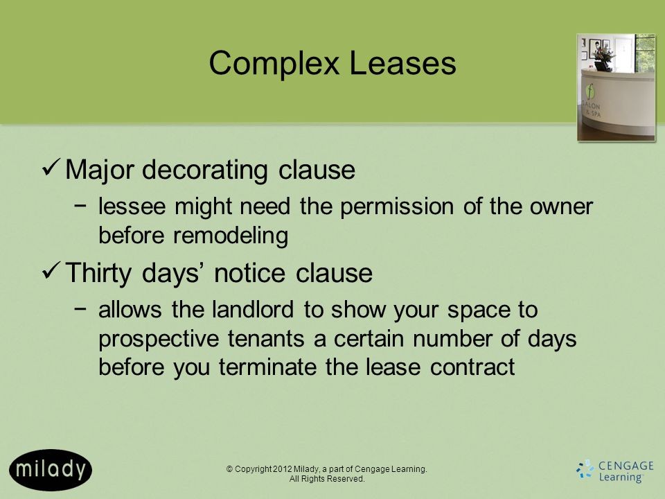 Complex Leases Major decorating clause Thirty days' notice clause