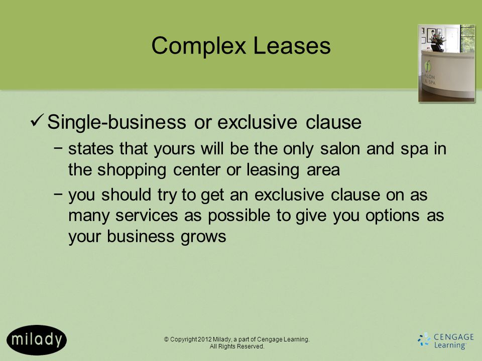 Complex Leases Single-business or exclusive clause