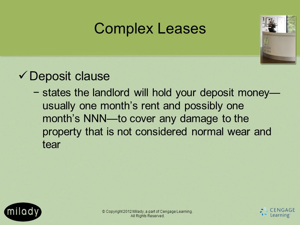 Complex Leases Deposit clause