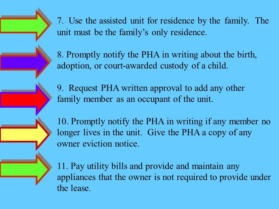 7. Use the assisted unit for residence by the. family. The