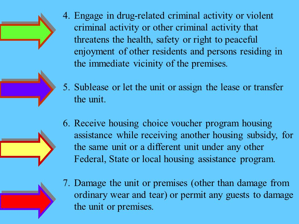 Engage in drug-related criminal activity or violent criminal activity or other criminal activity that threatens the health, safety or right to peaceful enjoyment of other residents and persons residing in the immediate vicinity of the premises.
