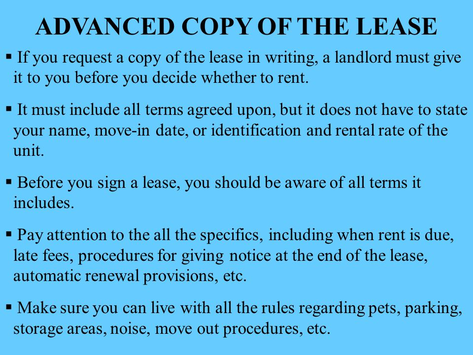 ADVANCED COPY OF THE LEASE