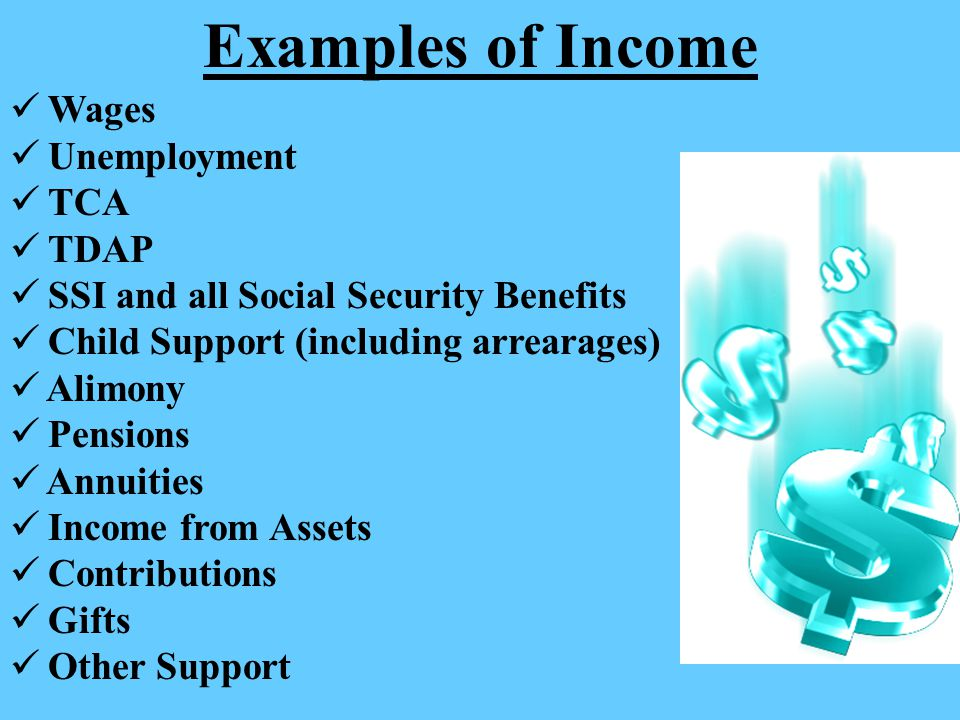 Examples of Income Wages Unemployment TCA TDAP
