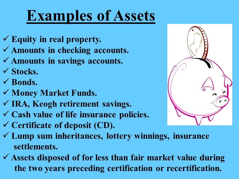 Examples of Assets Equity in real property.