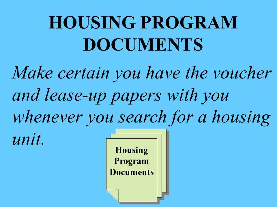 HOUSING PROGRAM DOCUMENTS