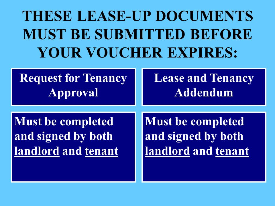 Request for Tenancy Approval Lease and Tenancy Addendum