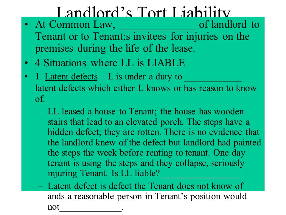 Landlord's Tort Liability
