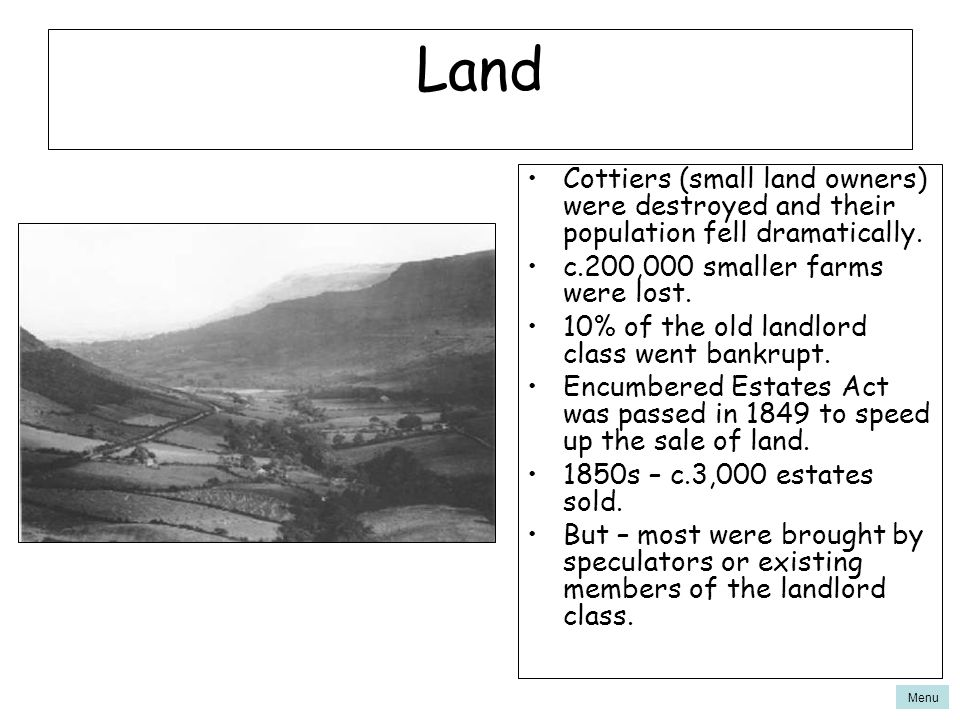 Land Cottiers (small land owners) were destroyed and their population fell dramatically. c.200,000 smaller farms were lost.
