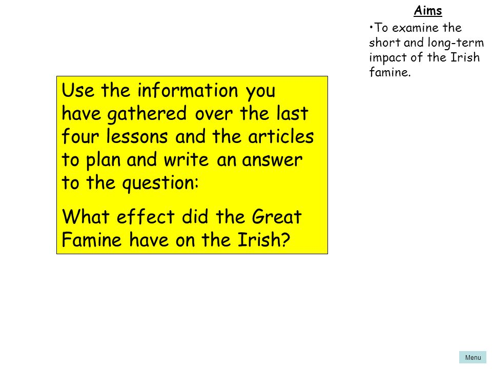 What effect did the Great Famine have on the Irish