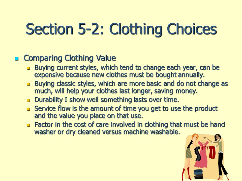 Section 5-2: Clothing Choices