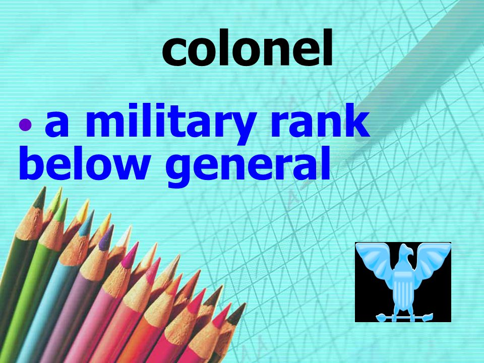 a military rank below general